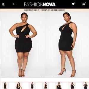 Cut Me In One Shoulder Mini Dress - Black